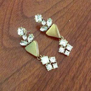 J. Crew gold and rhinestone earrings Art Deco